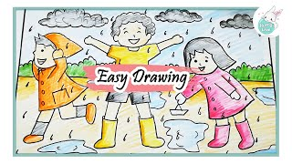 How To Draw Kids Enjoying Rainy Season Easy Scenary Drawing