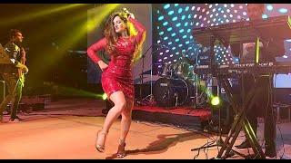 Indian Wedding Sangeet Function Female Singer Band Live Performance Family Dance with Bride Groom