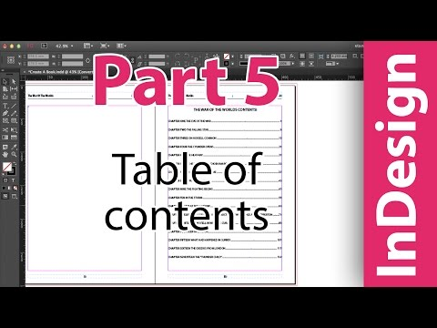 InDesign training: Table Of Contents. Adobe InDesign CC. Putting A Book Together PART 5