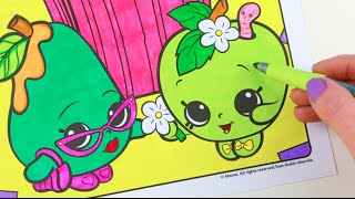 Shopkins POSH PEAR And APPLE BLOSSOM Speed Coloring Book Page With Markers