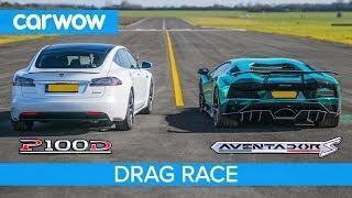 Download Lamborghini Aventador S v Tesla Model S P100D - DRAG RACE, ROLLING RACE & BRAKE TEST Video