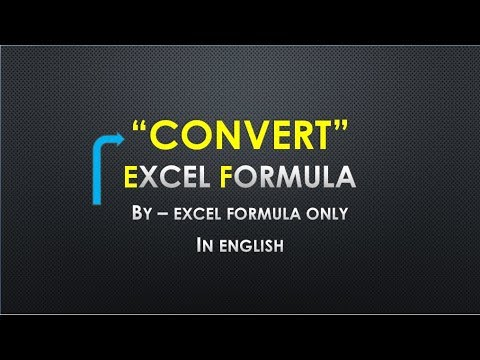 """""""CONVERT"""" Excel Formula (Perfect Excel Function in English)"""