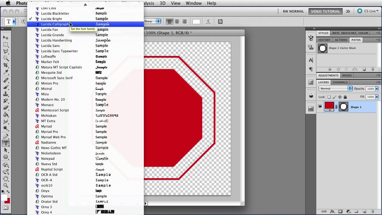 PS Shapes - Making a Stop Sign - Photoshop Tutorial
