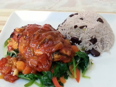 Sunday Oven Baked Chicken Breast Served With Rice & Peas & Spinach | Recipes By Chef Ricardo