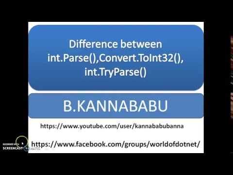 Difference between int.Parse(),Convert.ToInt32(),int.TryParse()