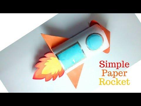 Simple Paper Rocket, Rocket Origami, Rocket Toilet Paper Roll Craft, How To Make Paper Rocket Ship