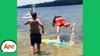 He Got YOINKED Right Off His FEET! 🤣 | Best Funny Water Fails | AFV 2021