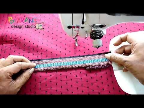 Churidar Neck design cutting and stitching