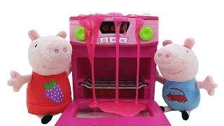 Download Игрушки для детей. Свинка Пеппа и Джордж — мягкие игрушки. Свинки дома без родителей. Готовим вместе Video