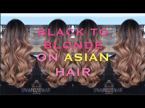 from BLACK to Blonde balayage ombre on ASIAN hair