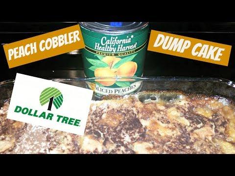 PEACH COBBLER DUMP CAKE~DOLLAR TREE PEACHES~FOODIE FRIDAYS!