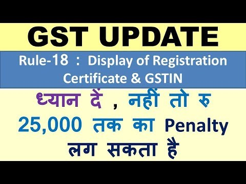 GST : DIsplay of Registration Certificate, Display of GSTIN on Name Board, Penalty of Rs 25000