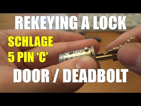 Rekeying a door lock with a deadbolt Schlage 5 pin C section key - changing a key combination
