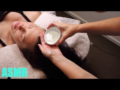 Scalp Massage and facial mask beauty treatment with soft spoken and whispers