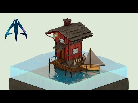 Cinema 4D | Speed Art | Low Poly Fishing house
