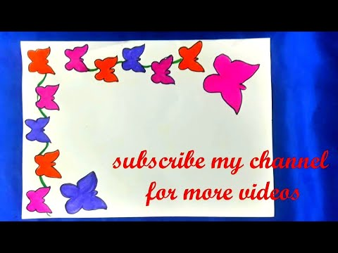 butterfly attractive borders for project | simple and easy border for school project| border design