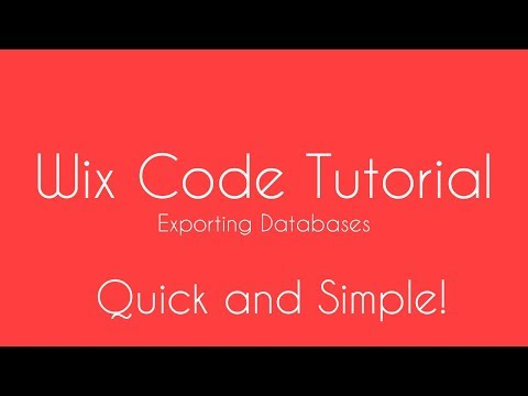 Exporting Databases in Wix - Wix Code Tutorial - Wix Code 2018 - Wix Code Developers
