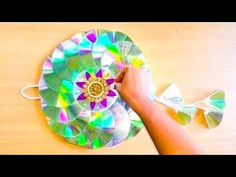 DIY CD WALL HANGING FOR DIWALI DECOR/RECYCLED OLD WASTE CD WALL HANGINGS/BEST OF WASTE