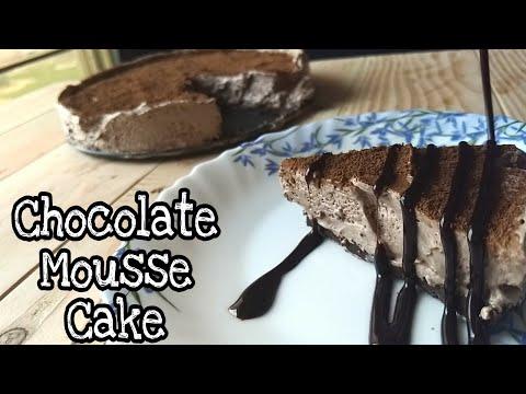 Chocolate Mousse Cake Recipe - NO BAKE   WITHOUT OVEN CHOCOLATE MOUSSE CAKE   by foodie tadka