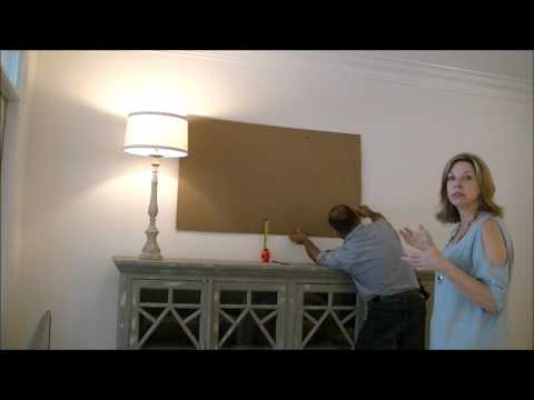 How to mount a tv. Cardboard trick makes it easy while she makes up her mind where she wants it