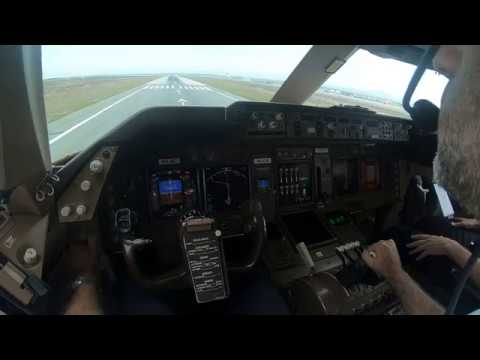 BOEING 747 TAKEOFF FROM LARNACA . PILOT VIEW.  CAPTAIN ADI IS FLYING..