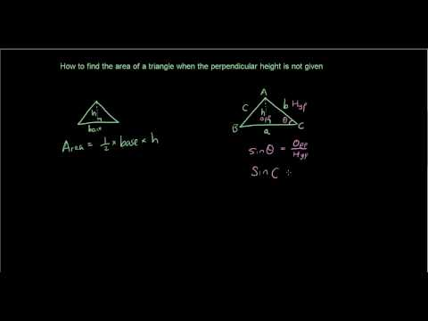 Trigonometry lesson 5 - Finding the Area of a triangle without perpendicular height