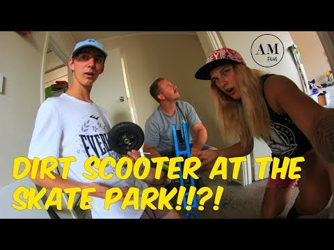 DIRT SCOOTER AT THE SKATEPARK!!?!