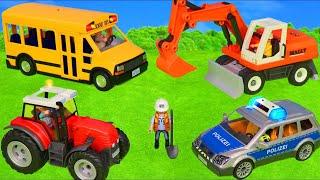Playmobil Roues sur le bus avec pelle, tracteur, camion et véhicules jouets - Toys for kids