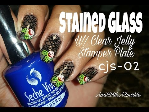 Stain glass w/ Yvonne Lopez using Clear Jelly stamper plate