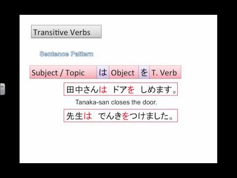 Transitive and Intransitive Verbs for Beginner Japanese language