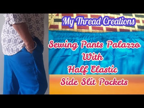 Stitching Ladies Pants, Palazzo with Half Elastic, Front Belt and Side pockets