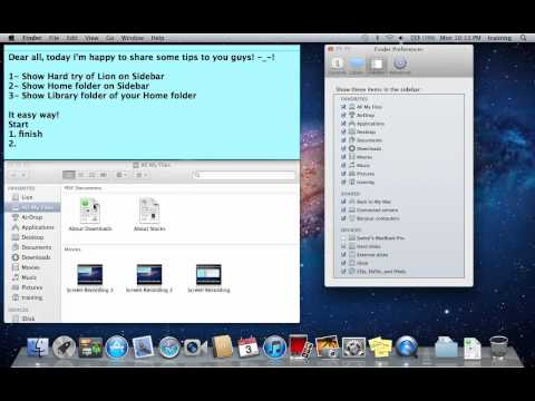 Show Mac partition, Home folder and Library of Home folder