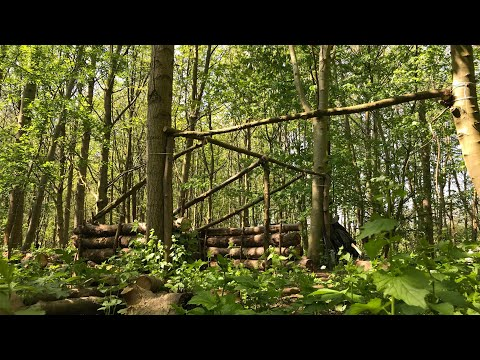 Bushcraft Camp Update-6-Back Wall Insulated, Tarp Roof On & Covered With Branches