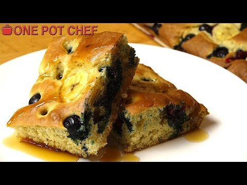 Banana and Blueberry Sheet Pan Pancakes | One Pot Chef