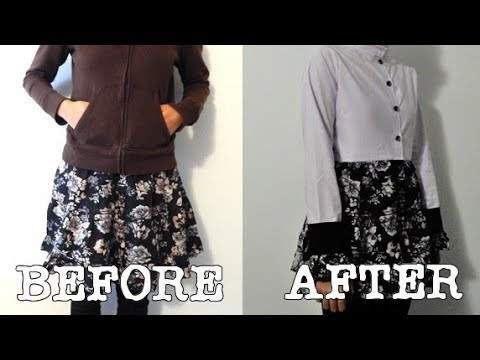 Refashion DIY 4 | Transform Tiered Skirt into Button Up Gathered Dress + Band Collar