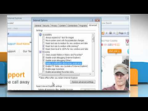 Internet Explorer® 7: How to disable script error notification in Windows® Vista
