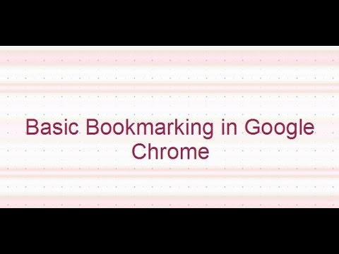 Bookmarking in Google Chrome