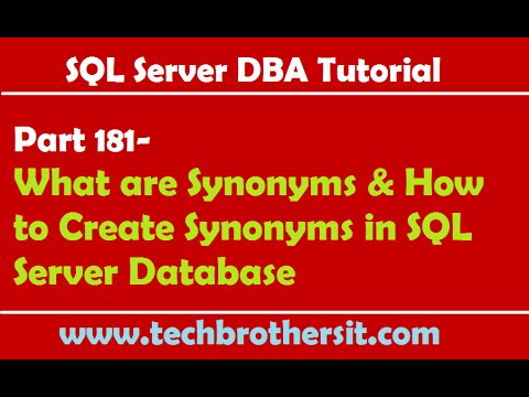 SQL Server DBA Tutorial 181-What are Synonyms & How to Create Synonyms in SQL Server Database