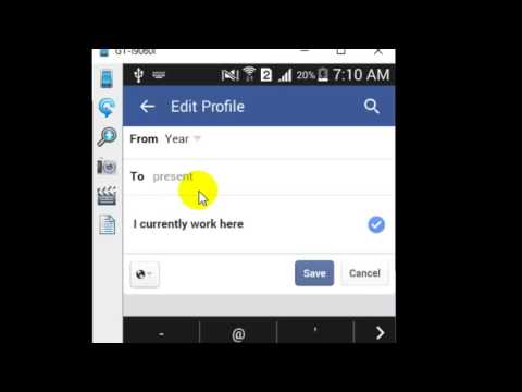 How to add work details in Facebook Android app