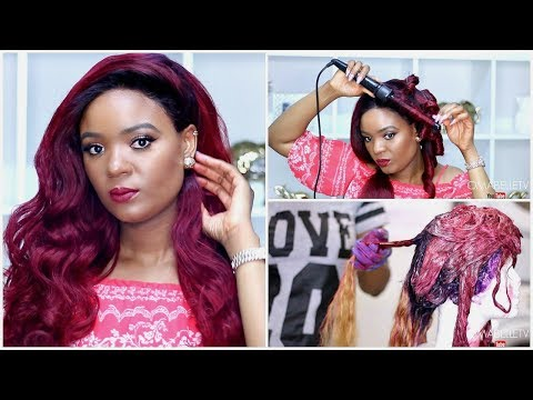 DIY | BURGUNDY WINE HAIR : FROM BLACK TO RED LACE FRONTAL WIG | OMABELLETV
