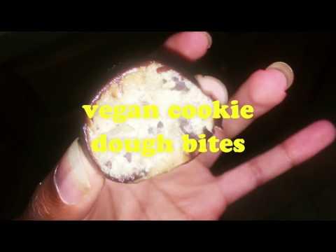 vegan cookie dough bites + homemade chocolate sauce