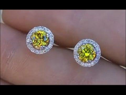 Estate GIA Certified Fancy Canary Yellow Diamond Stud Earrings 14kt - eBay Auction