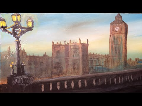 London Westminster Bridge and Big Ben, Acrylic painting for beginners, clive5art