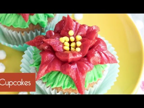How to make easy Poinsettia Cupcakes for Christmas