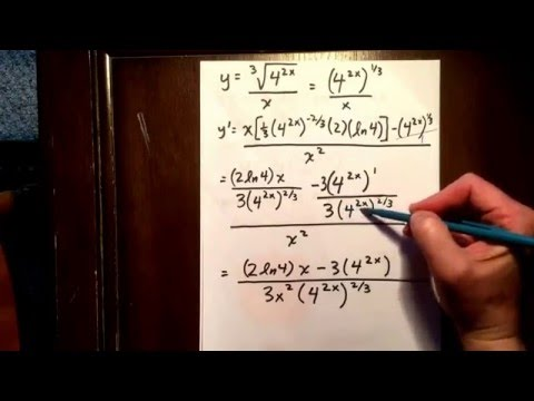 Exponential function: derivative involving quotient rule and chain rule