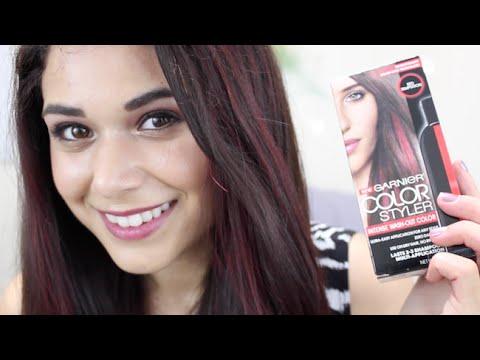 Asymmetrical Red Streaks Hair Tutorial w/ Garnier Color Styler