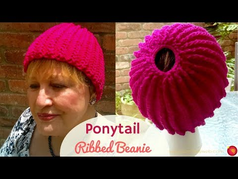 Ponytail Chained Ribbing Knitted Hat - Knitting a Stretchy Ponytail Hat