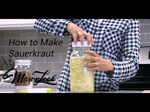 How to Make Sauerkraut Fermented Food Recipe in Mason Jar at home probiotic from scratch DIY