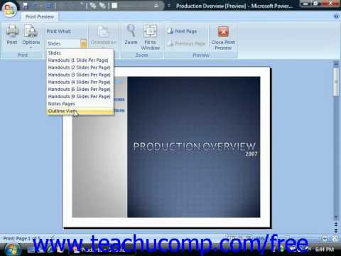 PowerPoint 2007 Tutorial Using Print Preview 2007 Only Microsoft Training Lesson 8.3