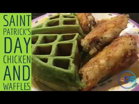 Chicken and Waffles - Saint Patrick's Day (Green Waffles)